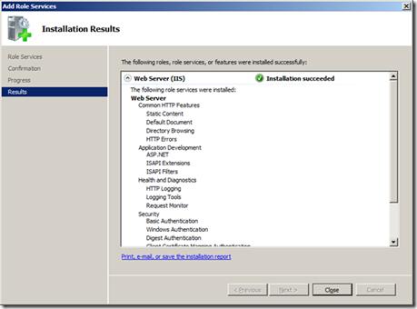 Web Server role install